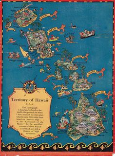 vintage maps of the Hawaiian islands by Ruth Taylor White from the 1930s
