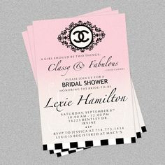 Coco Chanel Custom Invite van partypixieinvites op Etsy, $12,00