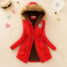 New arrival women's winter warm clothing faux fur hooded cotton-padded parka long jacket fleece lined coat