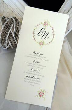 MENU CARD Ideal for Weddings Rehersal Dinners by SweetPeaSunday
