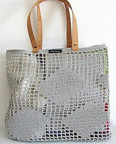 Handmade Light Gray CROCHET Bag-Tote with CORK SKIN Handles // Bag with rhombus pattern // Shoulder handles // Tote bag, Mesh bag - taschen - Crochet Crochet Market Bag, Crochet Tote, Crochet Handbags, Crochet Purses, Filet Crochet, Crochet Shell Stitch, Knitted Bags, Crochet Accessories, Handmade Bags