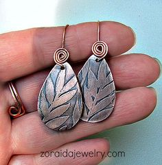 Etched copper earrings - great connection to earwires