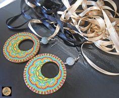 Colorful Mandala earrings Boho Style Earrings Wooden Earrings Modern Earrings Statement jewelry Handmade Bohemian Jewelry by Neda Handmade Jewelry, Handmade Items, Unique Jewelry, Handmade Gifts, Wooden Earrings, Boho Earrings, Artistic Wire, Mandala Coloring, Bohemian Jewelry