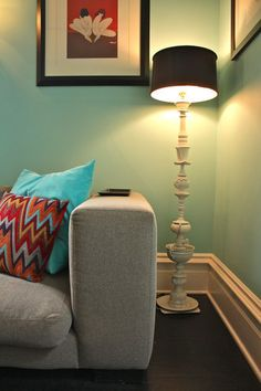 Vintage china as floor lamp in eclectic living room by Shannon Malone