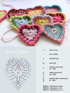 Heart Crochet Patterns Archives - Beautiful Crochet Patterns and Knitting Patterns Beau Crochet, Crochet Diy, Crochet Motifs, Crochet Diagram, Crochet Chart, Crochet Squares, Love Crochet, Beautiful Crochet, Double Crochet