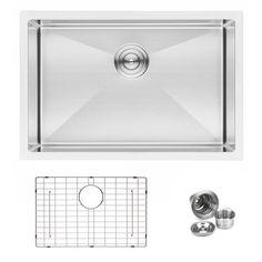 "BAI 1221 - 27"" Handmade Stainless Steel Kitchen Sink Single Bowl Undermount 16 Gauge"