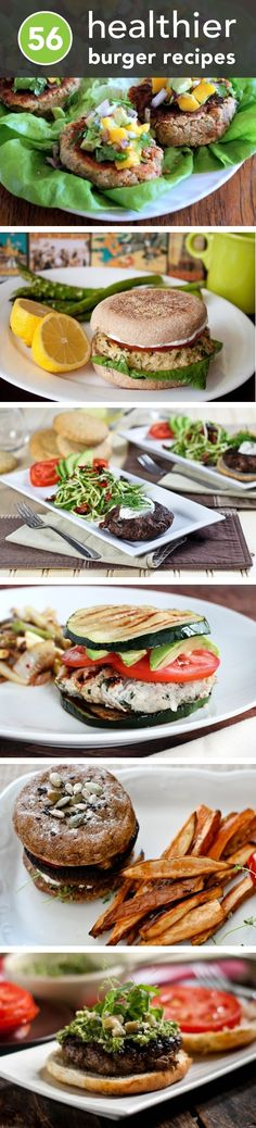 "56 Healthier Burger Recipes for Summer: Oh yeah! I have a few ""healthy burger"" recipes from friends, but great to add these to my collection! Think Food, I Love Food, Good Food, Yummy Food, Tasty, Healthy Burger Recipes, Healthy Snacks, Healthy Cooking, Healthy Eating"