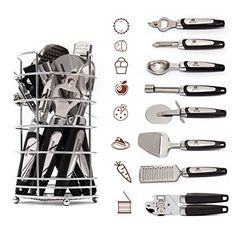 Kitchen Gadget Tool Set by BEESTAR  8 Piece Stainless Steel Kitchen Utensil Kit With Basket Bottle Opener  Icecream Spoon Grater Peeler  Pizza Knife Can Opener  Cheese Slicer  Apple Corer >>> Continue to the product at the image link.