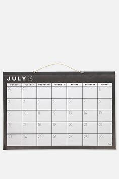 2018 19 A1 Hanging Calendar, BLACK