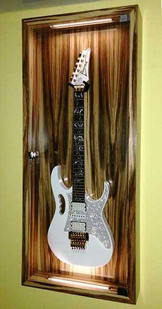 Guitar Display Case, Guitar Storage, Guitar Rack, Guitar Hanger, Home Music Rooms, Music Studio Room, Recording Studio Design, Cool Woodworking Projects, Music Guitar