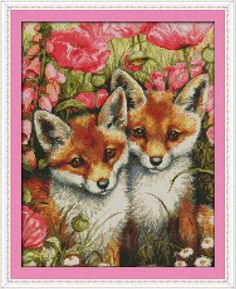 Two little foxes Printed on Canvas DMC Counted Chinese Cross Stitch Kits printed Cross-stitch set Embroidery Needlework