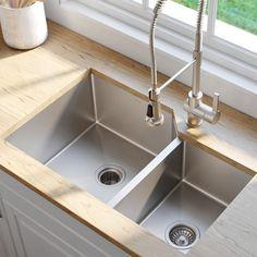 Kitchen Sink Remodel Kraus L x W Double Basin Undermount Kitchen Sink - Rustic Kitchen, New Kitchen, Kitchen Decor, Kitchen Ideas, Kitchen Designs, Gold Kitchen, Kitchen Layout, Country Kitchen, Deep Sink