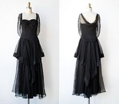 vintage 1940s dress / 40s black formal gown / by adoredvintage, $148.00