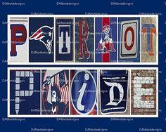 New England Patriots Framed Alphabet Photo Art Print