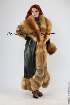 Leather coat the Queen of spades with the fur of a Fox moth – shop online on Livemaster with shipping - Fur Fashion, Fall Fashion Trends, Gothic Fashion, Fashion Bloggers, Style Fashion, Long Leather Coat, Fur Clothing, Sheepskin Coat, Fabulous Furs