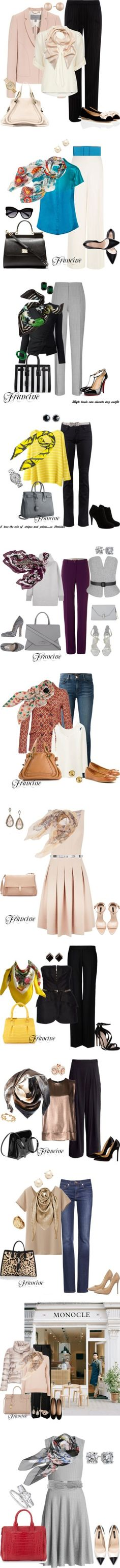 Pretty scarfs by binkie211 on Polyvore featuring мода, Jaeger, Salvatore Ferragamo, Mulberry, Dorothy Perkins, Chloé, Michael Kors, Carolee, Hobbs and Burberry