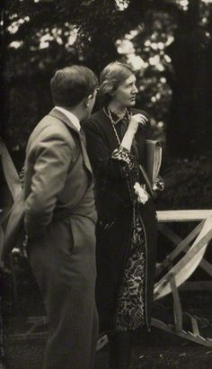 Virginia Woolf and Maurice Bowra, 1926, by Lady Ottoline Morrell
