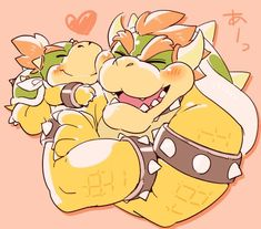 Some hug and kiss from Jr. Mundo Super Mario, Super Mario Art, Nintendo Characters, Video Game Characters, Mario Fan Art, Jr Art, Super Mario Brothers, Mario And Luigi, Charizard