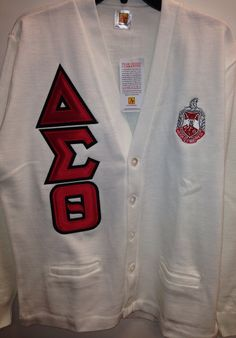 Delta sigma theta cardigan with letters and crest red - Delta sigma theta sorority cardigans ...