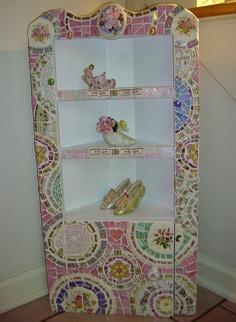 Shabby Mosaic Curio Cabinet by ree-creation-mosaics, via Flickr