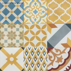 Cement Tile Shop - Encaustic Cement Tile Patchwork Yellow