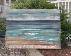 Beach Distressed Wood Pallet wall Art Hand by TheWhiteBirchStudio