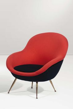 Anonymous; Brass-Legged Lounge Chair, 1950s.