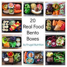 20 Real Food Bento Boxes - easy lunch ideas for kids & adults. No fancy shapes & faces necessary!   Frugal Nutrition #realfood #lunch