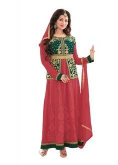 Party Wear Green & Pink Georgette Anarkali Suit  - FA422-11660