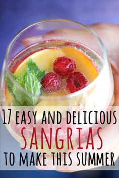17 Super Easy Sangrias To Make This Summer.I love sangria! Summer Sangria, Summer Cocktails, Cocktail Drinks, Cocktail Recipes, Margarita Recipes, Party Drinks, Fun Drinks, Alcoholic Drinks, Beverages