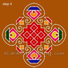 This page provides Diwali Rangoli Designs with title Diwali Rangoli 3 for Hindu festivals. Rangoli Designs Simple Diwali, Easy Diwali Rangoli, Indian Rangoli Designs, Rangoli Border Designs, Small Rangoli Design, Rangoli Designs With Dots, Kolam Rangoli, Rangoli With Dots, Beautiful Rangoli Designs
