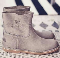 Shabbies Amsterdam taupe leather short boots