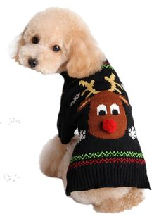 Moolecole Puppy Dog Christmas Knitted Sweater Reindeer Snowflake Clothes Pet  Winter Knitwear Warm Coat T- 3aca5c29b