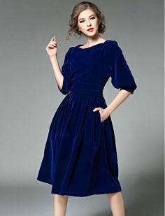 Simply Stunning Vintage Style Retro  Inspired Velvet Midi Dress
