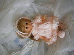 Hand Knit 10 inch Reborn Doll 4 pc Peach Dress Set by GillKnits, $12.45