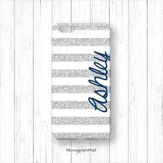 Personalized iPhone 6 case, 6+, 5, 5s, 5c, 4, 4s, Galaxy, s5, s4, s3, 3d, case, stripes, navy, blue, silver glitter, monogram, monogrammed