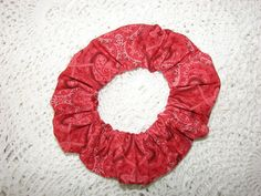 Reds Paisley Fabric Hair Scrunchie women's by coloradocntry