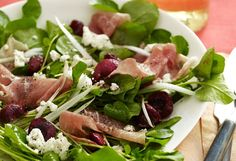 Salad of Spicy Greens, Cherries, Prosciutto and Goat Cheese by oprah #Salad #Prosciutto #Goat_Cheese