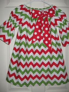 Girls Toddlers Babies Christmas  Chevron Peasant dress......size 6mo. thru 10 girls on Etsy, $28.00