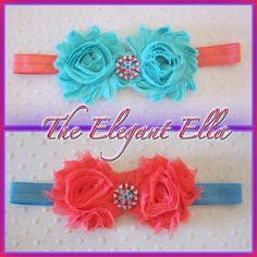 Sea foam Green and Coral OR Coral and Turquoise by TheElegantElla, $9.00