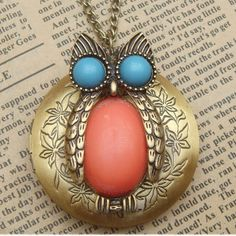 Steampunk Owl Locket(i) Necklace Vintage Style Original Design