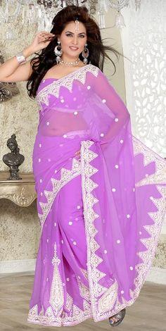 $53.07 Purple Embroidered Chiffon Saree 23362