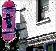 Voodoo Doughnuts - Portland  The line to get Voodoo Doughnuts was out the door and around the corner! These crazy donoughts are very popular and come with weird toppings like bacon or peanut butter.