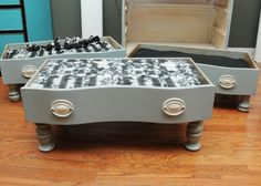 Upcycled Drawer Projects - The Cottage Market, pet bed with raised feet, I bet my cats would love these.