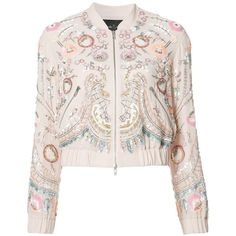 Needle & Thread floral embellished bomber jacket ($470) ❤ liked on Polyvore featuring outerwear, jackets, blouson jacket, floral jacket, flower print jacket, pink jacket and bomber style jacket