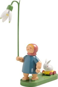 The Girl with a Snowdrop and Bunny - Wendt and Kühn Blossom Kinder (Flower Children) Collection Wooden Figurines, Wooden Ornaments, Wooden Dolls, Collectible Figurines, Easter Symbols, Wendt Kühn, Star Children, Flower Children, Christmas Rose