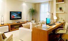 Living Pequeños, Tiny Living Rooms, Living Room Modern, Living Room Decor, Desk Behind Couch, Bedroom Minimalist, Deco Design, Home Office Desks, Home Furniture