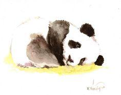 Sleeping Baby Panda by Suren Nersisyan Unframed Wall Art Print, Black Art Original, Original Paintings, Stretched Canvas Prints, Framed Art Prints, Image Panda, Sleeping Panda, Panda Bebe, Panda Painting, Diy Y Manualidades