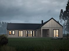 Discover recipes, home ideas, style inspiration and other ideas to try. Modern Barn House, Modern Bungalow, Modern Cottage, Modern House Plans, Tropical House Design, Small House Design, Modern House Design, Design Living Room, Design Bedroom