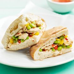 A spicy-sweet spread of cream cheese and Asian chili sauce adds a kick to these easy Tuna Focaccias. More quick seafood ideas: http://www.bhg.com/recipes/fish/30-minutes-less/20-quick-easy-seafood-recipes/ #myplate